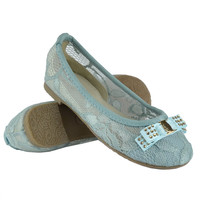 Kids Ballet Flats Laced Stitching Flat Bow Comfort Dress Shoes Blue SZ