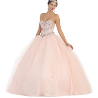 Prom Ball Gown Sweetheart Strapless Sequins Mesh Skirt Quinceanera Dress Beaded