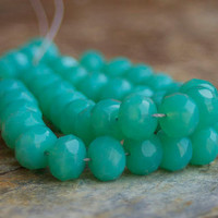 Czech Faceted Glass Beads - 7x11mm Fire polished Turquoise Green Faceted Rondelles