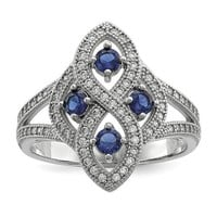 Sterling Silver Simulated Blue Sapphire & CZ Brilliant Embers Ring