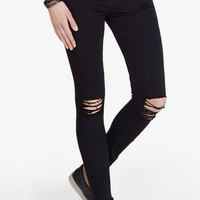 Black Mid Rise Cropped Jean Legging from EXPRESS