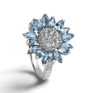 Exquisite Rings Fashion Jewelry 925 Sterling Silver Jewelry Imitation White Sapphire Aquamarine Gemstones Birthstone Bride Princ