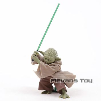 Star Wars Force Episode 1 2 3 4 5  Master Yoda Green Lightsaber Fighting Ver. PVC Action Figure Collectible Model Toy AT_72_6