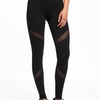 Go-Dry High-Rise Mesh-Panel Leggings for Women | Old Navy