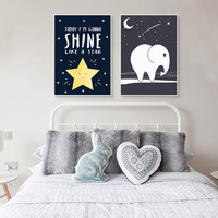 Modern Simple Decoration Starry Night Star Elephant Cartoon Pop Art Print Poster Mural Canvas Art Decoration Child Baby Room