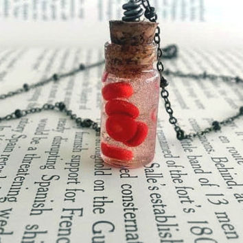 Red Blood Cells - Science Jewelry - Geek Jewelry - Nerd Jewelry - Glass Bottle Necklace - Anatomy Jewelry - Geek Art -  Science Art - Human