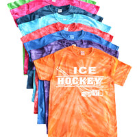 Ice Hockey Tie DyeT-Shirt - Distressed with Stick Logo