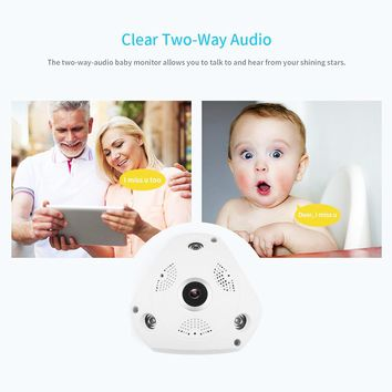 VR 3MP HD  Fish-eye Lens 360°Panoramic  Wireless IP Camera Audio Video WiFi Wide Angle 10m/33ft Night Vision VR CCTV Home Security Surveillance Cameras System Support Motion Detection APP Remote Control