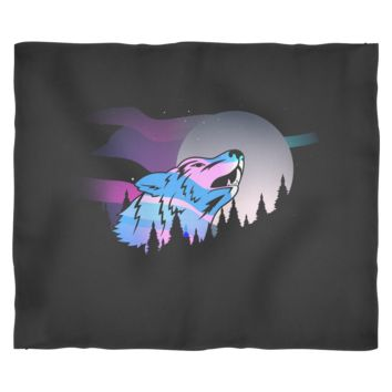 Wolf Fleece Blanket - Wolf Howling at Moon Fleece Blanket