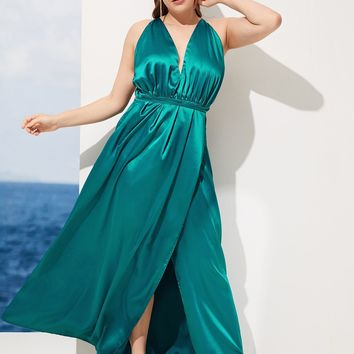 Plus Backless V-neck Satin Dress