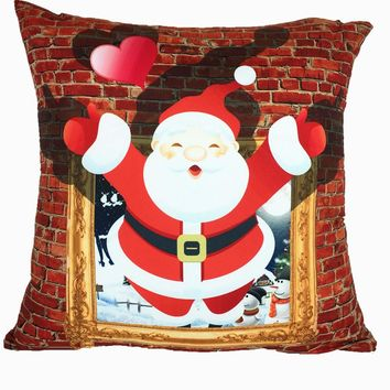 Christmas Sofa Bed Square Pillow Cover Cushion Two-Side Case Zipper Closure