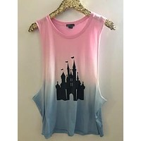 Disney Castle - Rainbow Ombre Muscle Tank - Ruffles with Love - Graphic Tee - RWL
