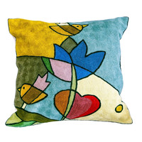 Handmade Two Bird Chain-stitch Accent Pillow (India) | Overstock.com Shopping - The Best Deals on Throw Pillows & Covers
