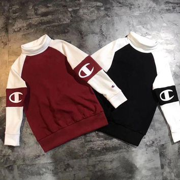 ONETOW Champion Fashion High Collar Pullover Top Sweatshirt Sweater