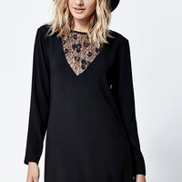 LA Hearts Lace Inset Mini Dress - Womens Dress - Black