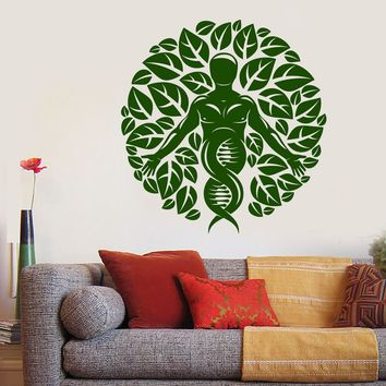 Vinyl Wall Decal Nature And Human Leaves DNA Science Stickers (2640ig)