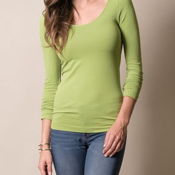 Control Fit Scoop Neck Long Sleeve Top