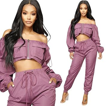 Sexy Off Shoulder 2 Piece Set Women Long Sleeve Zipper pockets Tops+ Casaul Pants Fashion Spring Loose Two Piece Set