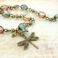 Dainty Dragonfly Charm Bracelet - Green and Pink Czech Glass Bead Bracelet - Antique Brass Jewelry - Vintage Style Nature Dragonfly Jewelry