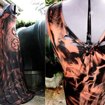 Post Apocalyptic Tie Dye Goth Steampunk Maxi Dress Shredded Custom Made to Order