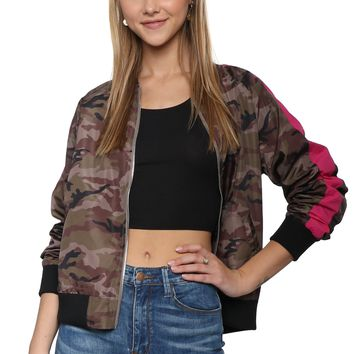 Brooklyn Karma Camo Stripe Bomber Jacket