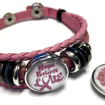 Tree Of Life Breast Cancer Awareness Snaps On Pink Leather Bracelet W/2 Snap Jewelry Charms New Item