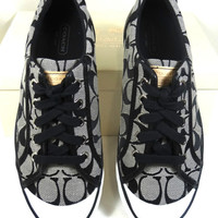 COACH BARRETT SIGNATURE BLACK WHITE SNEAKERS SHOES 5-12
