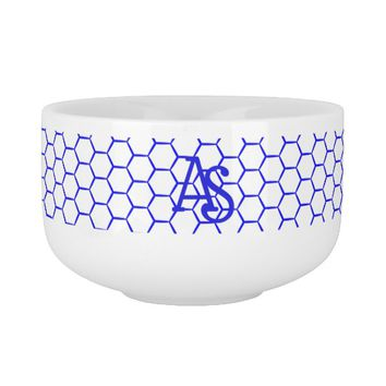 Blue pattern. Hexagonal grid. Monogram. Soup Mug