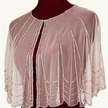 Pink Champagne Cape With Sequins - Sequined Shawl