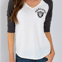 Junk Food Clothing - NFL Oakland Raiders Raglan