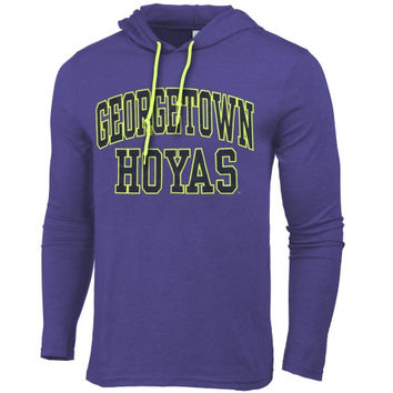 Georgetown Hoyas Neon Arch Fullback Hooded T-Shirt – Blue