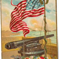 Vintage Postcard, Memorial Day Souvenir, Vintage Postcard, Cannon, Flag, ca 1920