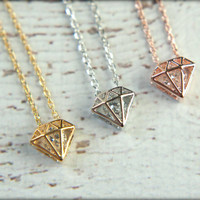 Diamond Cutout Necklace, Available in Silver, Gold, and Rose Gold