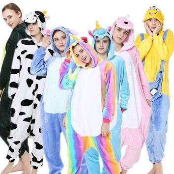 Winter Jumpsuit Adult Women & Meb Animal Pajamas Flannel Pajama Halloween Hooded Sleepwear Unicorn Stitch Panda Zebra Jumpsuits