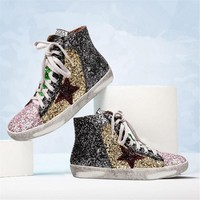 High Top Women Casual Shoes Genuine Leather Do Old Dirty Shoes Mixed Color Women Sequins Fashion Golden Star Goose Fleeces Shoes