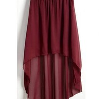 Red Wine High Low Skirt