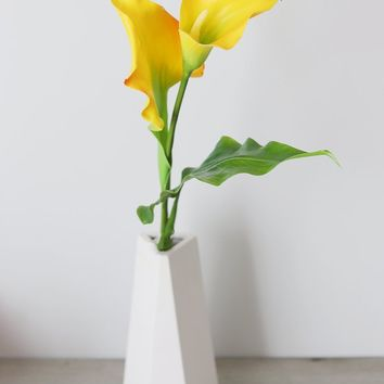 """Yellow Fake Calla Lily Flowers - 24"""" Tall"""