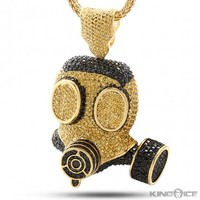 King Ice Gold Black CZ Gas Mask Pendant | Hip Hop Jewelry | Urban Style Pendant