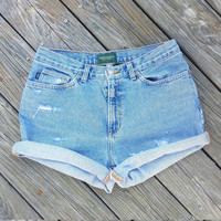 High Waisted Denim Shorts - High Waist Jean Shorts - Vintage RALPH LAUREN Denim Shorts - Size US 10