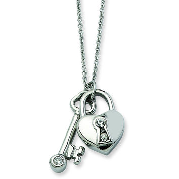 Stainless Steel Heart Lock & Key withCZ with 2inch ext Necklace SRN605