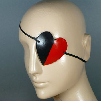 HARLEY QUINN Eyepatch Black & Red in Leather Harley Quinn Harlequin Eye Patch Eye Pad Costume Fancy Dress Cosplay Festival Rave Costume