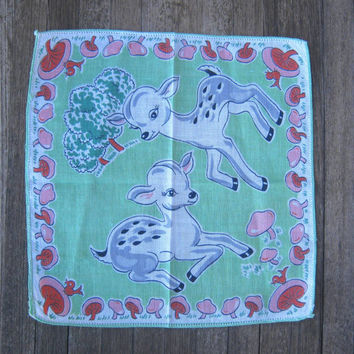 1950s vintage baby deer hankie - Sweet vintage fawn hankie - Sea green, white, gray, red & pink little deer handkerchief - Vintage gift