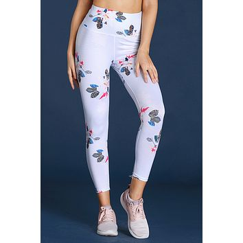 White Discrete Print High Waist Sport Leggings