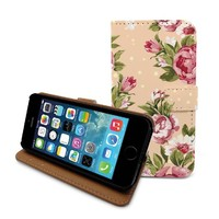"Beanbeancase Vintage Retro Flower Rose Wallet Flip Cover Leather Case for iPhone 6 4.7"" (E06) (Black)"