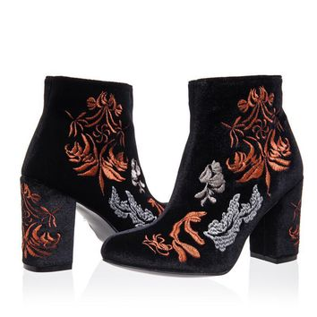 Womens Black Embroidered Velour High Heel Ankle Boots