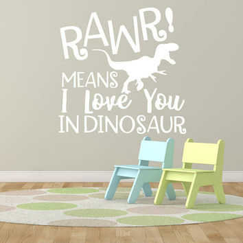 Dinosaur Nursery Wall Art, Rawr Love Quote Lettering for Wall, Kid Bedroom Wall Quote Decor Vinyl, Baby Boy Dinosaur Birthday Part Gift,