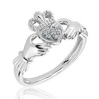 Sterling Silver and Diamond Claddagh Ring
