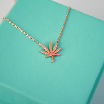 Rose gold Marijuana Leaf Necklace, Dainty 420 pendant necklace, Cannabis leaf delicate necklace, Pot Leaf Necklace