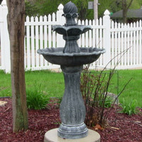 Outdoor Solar On Demand 2 Tier Water Fountain in Black