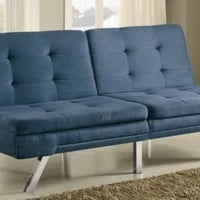 Blue microfiber fabric upholstered futon sofa bed with tufted seat and back design